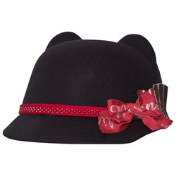 Monnalisa Navy Felt Riding Hat with Branded Bow
