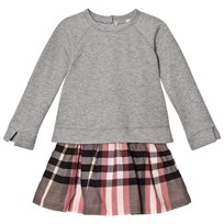 Burberry Pink Francine Sweater Check Dress Dusty Pink