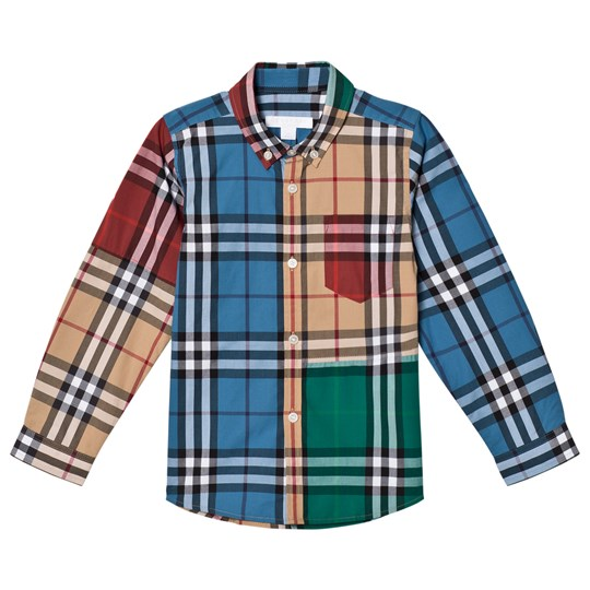 Burberry Fred Colorblock Check Shirt Camel