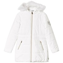 Guess White Padded Long Line Coat with Faux Fur Hood B017