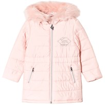 Guess Pink Padded Coat with Faux Fur Hood G601