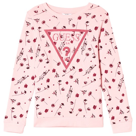 Guess Flower and Glitter Logo Tröja Rosa P437