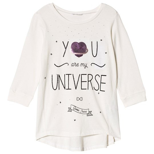 Guess Cream You Are My Universe Heart Sequin Tee B017