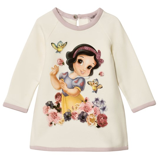 Monnalisa White Snow White Print Sweat Dress with Diamantes 0166
