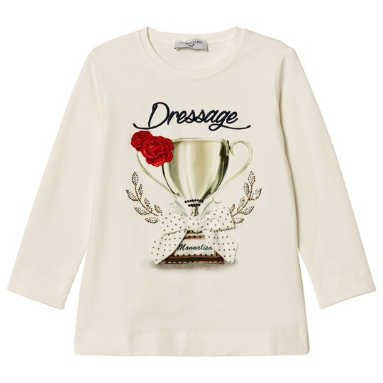 Monnalisa White Dressage Print and Embroidred Tee 01