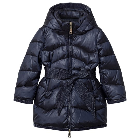Monnalisa Navy Long Line Padded Coat with Bow Tie Detail 56