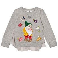 Monnalisa Grey Marl Bashful Embroidered and Diamante Tulle Back Sweatshirt 32