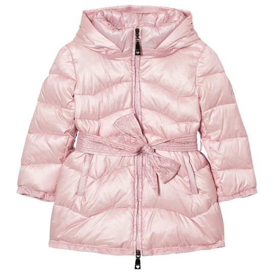 Monnalisa Pale Pink Long Line Padded Coat with Bow Tie Detail 66