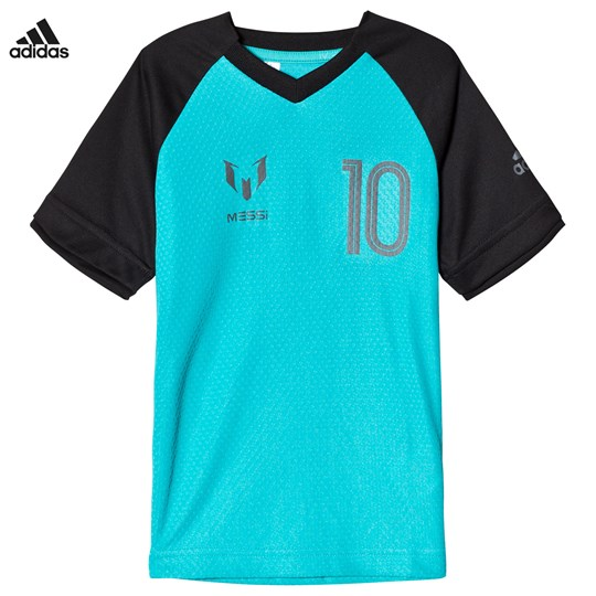 adidas Performance Teal Messi Icon Tee ENERGY BLUE S17/BLACK