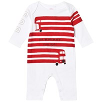 Burberry White and Red Bus Print One-Piece White