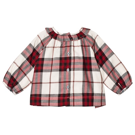 Burberry Red and White Karla Check Frill Shirt CRIMSON RED