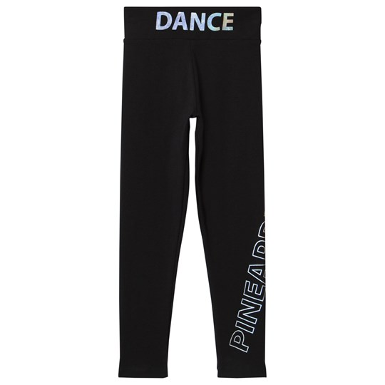 Pineapple Black Holographic Branded Dance Leggings Black