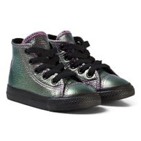 Converse Chuck Taylor All Star Iridescent Leather High Top Skor Violet/Svart VIOLET/BLACK/BLACK