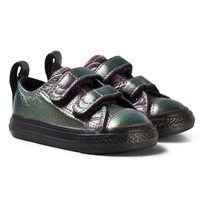 Converse Chuck Taylor All Star 2V Iridescent Leather Low Top Skor Violet/Svart VIOLET/BLACK/BLACK