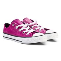 Converse Chuck Taylor All Star Double Tongue Velvet Low Top Skor Rosa PINK SAPPHIRE/DEEP EMERALD