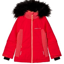 Oneill Red Felice Ski Jacket with Faux Fur Hood