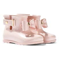 Mini Melissa Pink Blush Bow Welly Boots Blush