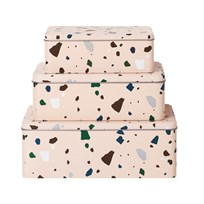 ferm LIVING Tin Boxes - Terrazzo - Rose (set of 3) Multi