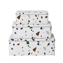 ferm LIVING Tin Boxes - Terrazzo - Grey (set of 3) Black