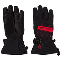 Spyder Black and Red Colour Block Overweb Ski Gloves 001 BLK/RED