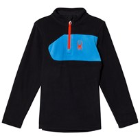 Spyder Black Colour Block Boys Speed Fleece Top 001 BLK/FRB/BRS
