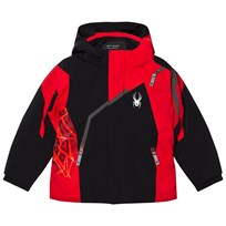 Spyder Red and Black Colour Block Mini Challenger Jacket 001 BLK/RED/POL