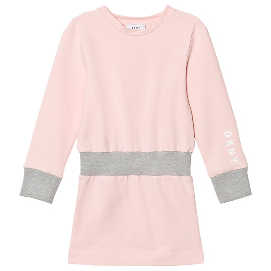 DKNY Pink and Grey Branded Sweat Dress 47D
