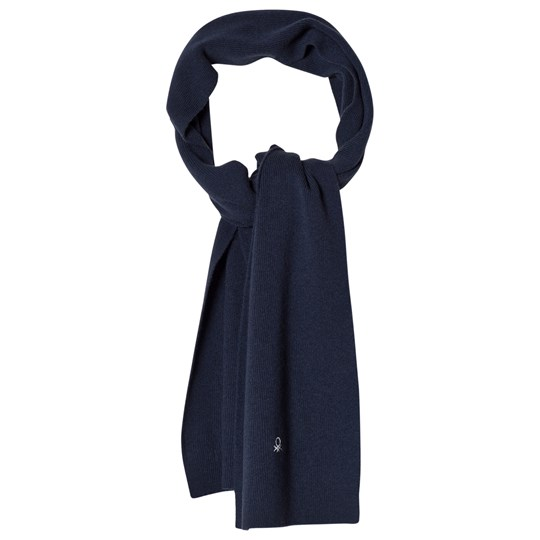 United Colors of Benetton Wool Knit Scarf Navy Navy