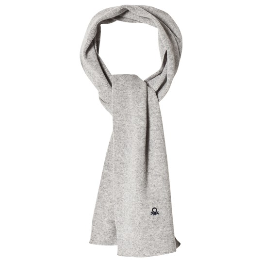 United Colors of Benetton Wool Knit Scarf Light Grey Light Grey