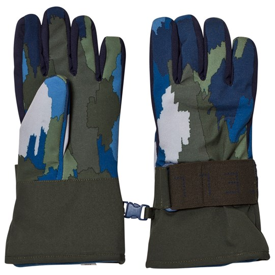 Stella McCartney Kids Navy Camo Shredded Ski Gloves 2864