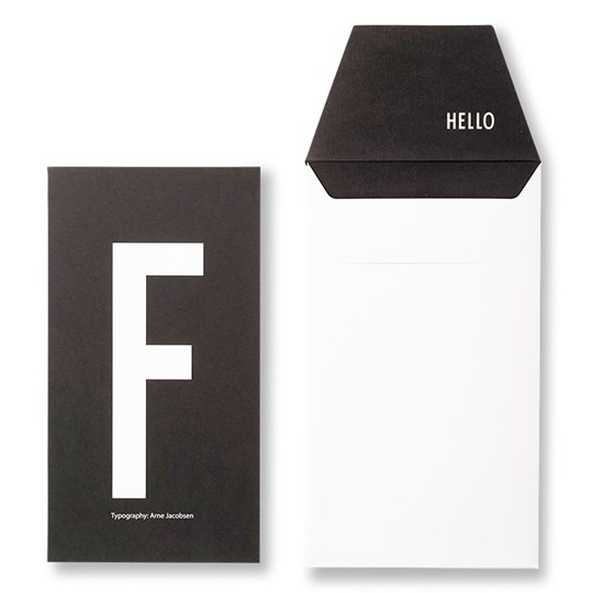 Design Letters Personal Greeting Card - F Black