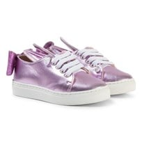 Minna Parikka Pink Laces Sneakers with Bunny Ears and Bow Details Pink Metallic Elastic Lacces
