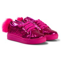 Minna Parikka Hot Pink Bunny Ear Details and Tail Details Sneakers Fuchsia Glitter Shearing Elastic Laces