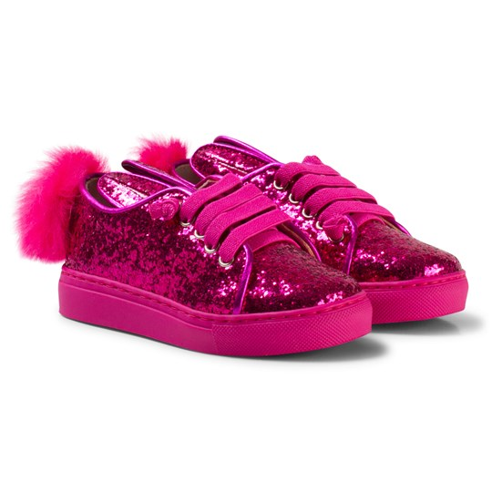 Minna Parikka Bunny Ear Details and Tail Details Sneakers Hot Pink Fuchsia Glitter Shearing Elastic Laces