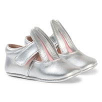 Minna Parikka Silver Crib Shoes with Bunny Ear Details Hopea