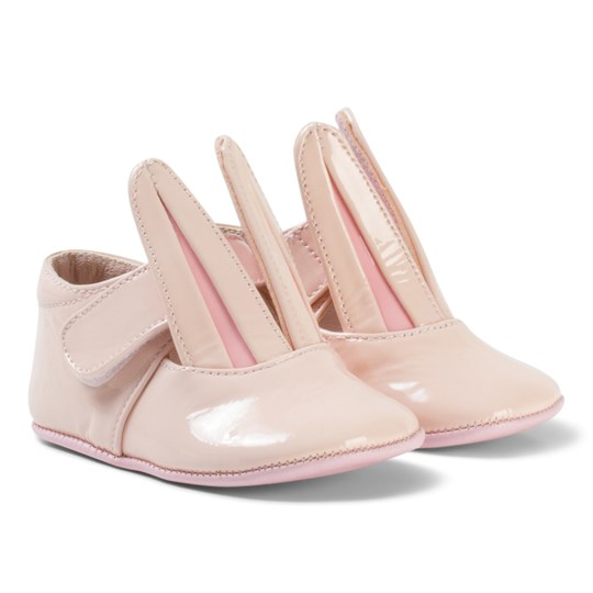 Minna Parikka Pale Pink Crib Shoes with Bunny Ear Details Powder Patent