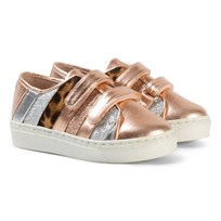Minna Parikka Gold and Multi Stripes Colored Sneakers Rose Gold