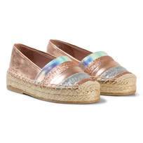 Minna Parikka Rose Gold Espadrilles with Multi Colored Stripes Rose Gold