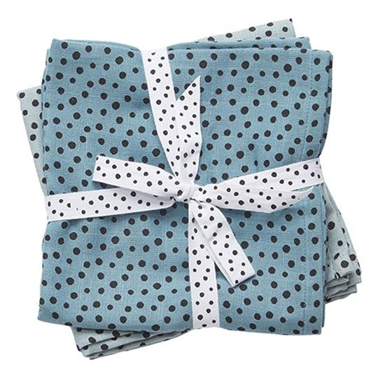 Done by Deer Happy Dots Burp Cloth 2-Pack Blå Blue