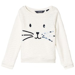 Lands' End White Cozy Bunny Embroidered Sweatshirt