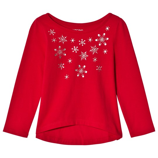 Lands' End Red Embellished Snowflakes Knit Long Sleeve Tee 6RQ