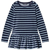 Lands End Navy Striped Fleece Tunic 6QT