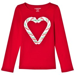 Lands' End Red Sequin Candy Cane Heart Long Sleeve Tee