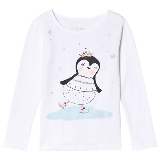 Lands' End White Skating Penquin Long Sleeve Tee 6QX