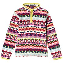 Lands End Multi Colour Printed Fleece Half Zip 5WB