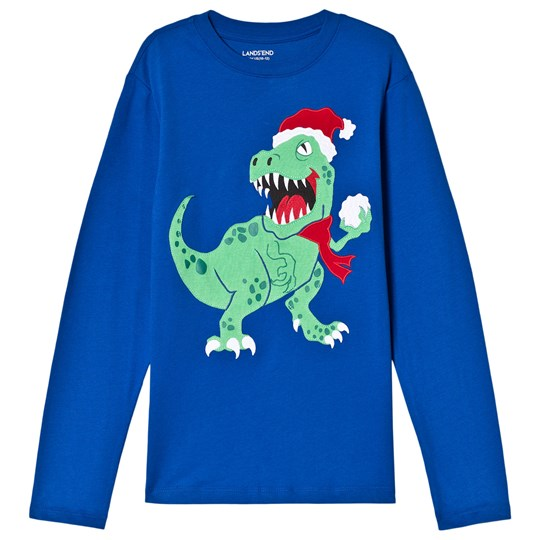 Lands' End Blue T-Rex Snowball Long Sleeve Tee 6PT