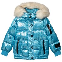 Diadora Blue Glitter Welland Piumino Corto Nylon Hooded Jacket Turquoise 051