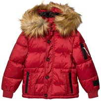 Diadora Red Sun Valley Piumino Corto Nylon Hooded Jacket Intense Red 040