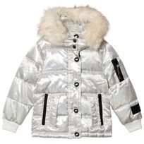 Diadora White Glitter Welland Piumino Corto Nylon Hooded Jacket Snow Off White 002