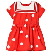 Mini Rodini Dot Woven Sailor Dress Red Punainen